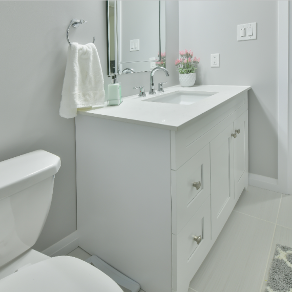 White bathroom vanity renovation